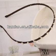 girls hairband pearl beaded alice ribbon covered headband