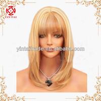 Medium Blonde Mix Light Brown Human Hair Full Bang Lace Front Wig 27/613