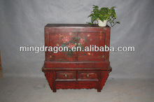 Chinese antique furniture red color wood Cabinet