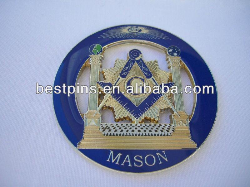 masonic free mason car auto emblem, metal enamel rear car emblem, mason cutout car emblem