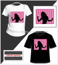 led panel t shirt/t shirt led display 100% cotton shopping mall christmas led t shirt
