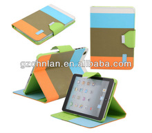 Crazy selling 4 color wallet leather case for ipad mini 2 colorful leather case