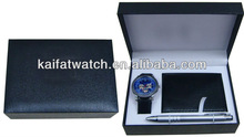 2013 good quality classic pen wallet best men gift set with japan movement and box