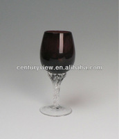 color body and clear stem painted wine glass patterns