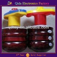 kids toy annatto wooden flash music spinning top