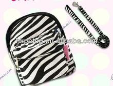 zebra Dog Harness Backpack with leash