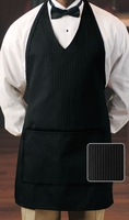 Women's Black Pinstripe Sexy V-Neck Tuxedo Chief Chef Aprons Kitchen Apron Uniform
