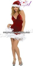 Red Hat Hot Feather Costume Sexy Christmas Dress from China Factory C4038