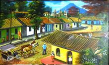 pintura paisaje tipico con carreton