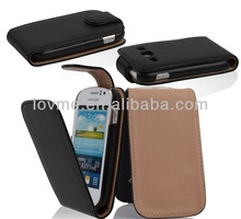 black flip pu leather case cover for samsung galaxy fame s6810