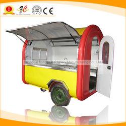 CE OEM hot dog/pizza trailer food with big wheel towed bar