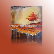 Autumn season tree painting landscape art