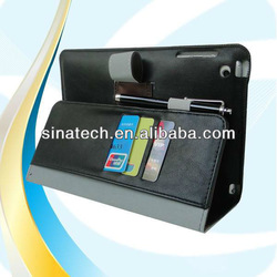 Fashionable design for ipad mini case with wallet and pen clip
