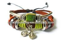 punk rock bracelt folk bracelet metal bike Adjustable Couple bracelets Cuff made of real Leather Ropes