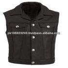 Women's Black/Purple Leather Motorcycle Vest with Front Laces,All Season Leather Motorcycle Vest