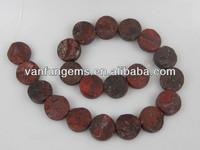 wholesale semi precious stone 25mm rough coins Poppy Jasper