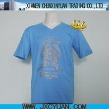 China gold printing v-neck tshirts clothing for men cheap bulk custom made