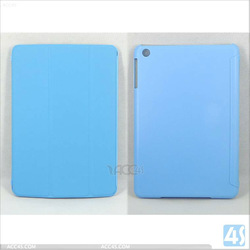 China wholesale voltage press 3 Folding Leather Case for apple iPad Mini tablet
