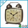 square metal antique brass table clock