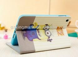 cheap price!!!custom design printing minion despicable me stand original style pu leather case for ipad mini