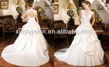 A-line wedding dress 2014 Short Sleeve keyhole back pick up skirt wedding dress