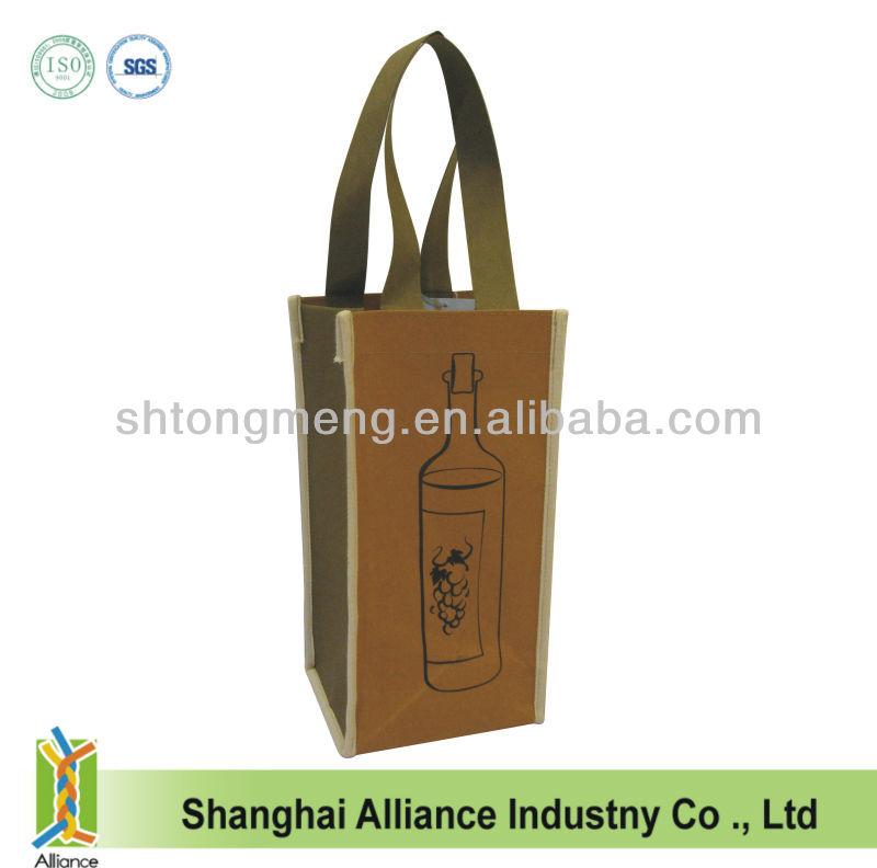 Luxury Washable Kraft Paper Wine Tote Bag-One Bottle Wine