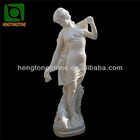 Carved Marble Girl with Dog Statue for Home
