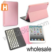 Aluminium Alloy Wireless Bluetooth Keyboard for iPad Mini+Flip Leather Case with Stand