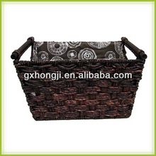 Handmade arts and crafts maize basket with wood handle