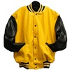 Yellow Varsity Letterman Jacket with Black Leather Sleeves