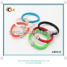 European Hot Sale Big Crystal Ball Leather Bracelet 2014 Magnetic Bracelet