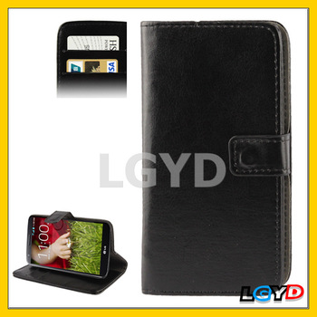 Cheap full body Leather cell mobile phone Case with Credit Card Slot & Holder for LG Optimus G2 / F320 / F340L / LS980 (Black)