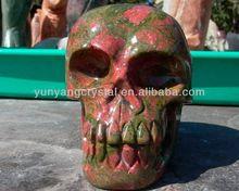Rare Polished Natural Unakite Gemstone Skull Bring Energy