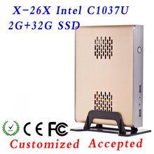 Ultra Low Power X-26X C1037U 2G RAM 32G SSD Aluminum computer case HTPC Mini-ITX case, thin itx case Support hd video