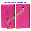 Wallet Style Wholesale Price for Samsung Galaxy S4 Leather Case with Card slots and Chain Strap