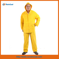 Yellow adult pvc 2-piece waterproof plastic rain suits