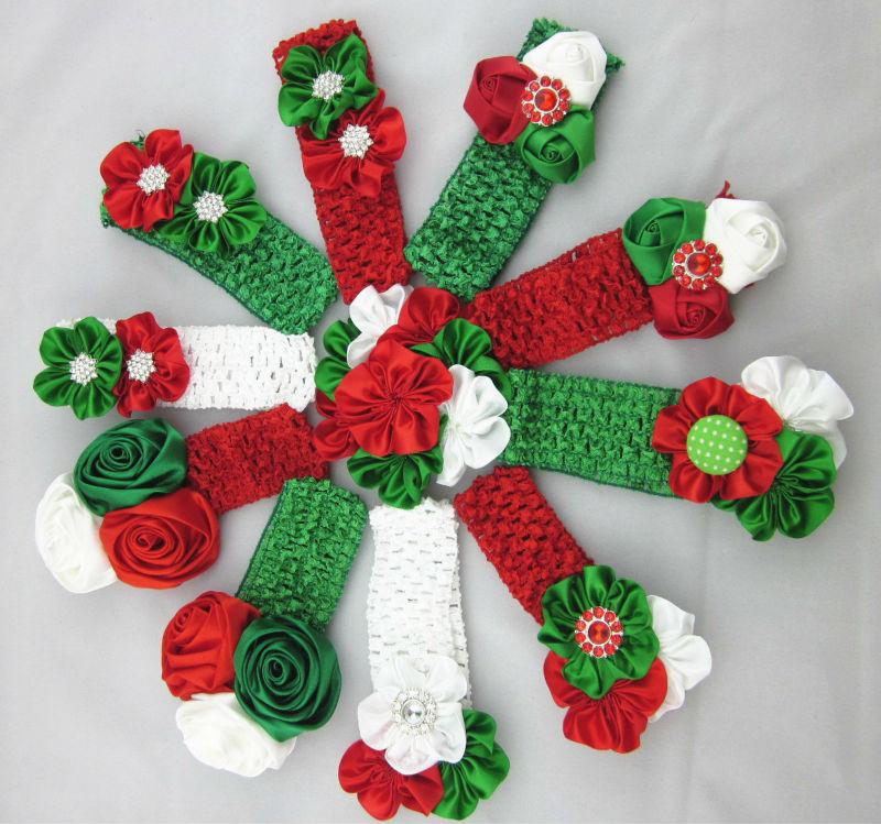 Yeni!! Yılbaşı hediyesi, tığ saç bandı yeni çiçek yılbaşı, chirstmas bebek headbands saç aksesuarları için