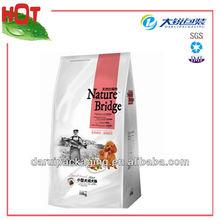 Flat bottom plastic pet food bag with top resealable zipper