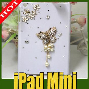 fashion diamond tassel butterfly hard case for ipad mini