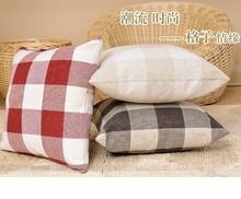 [Hold pillow case ]European flax square zipper cotton pillowcases
