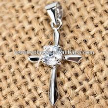TOP rank wholesale 925 silver cross charm, diamond cross jewelry pendant