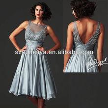 OUMEIYA OEM239 Beaded Silver Grey Tea Length Mother of the Bride Dresses 2014