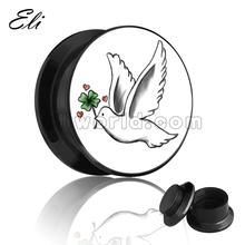 Lucky Dove Bird Logo Ear Piercings Plug Tunnel Jewelry Screw Plug