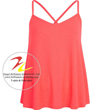 ladies Pink Cross Back Swing Cami Top fitted ribbed tank top