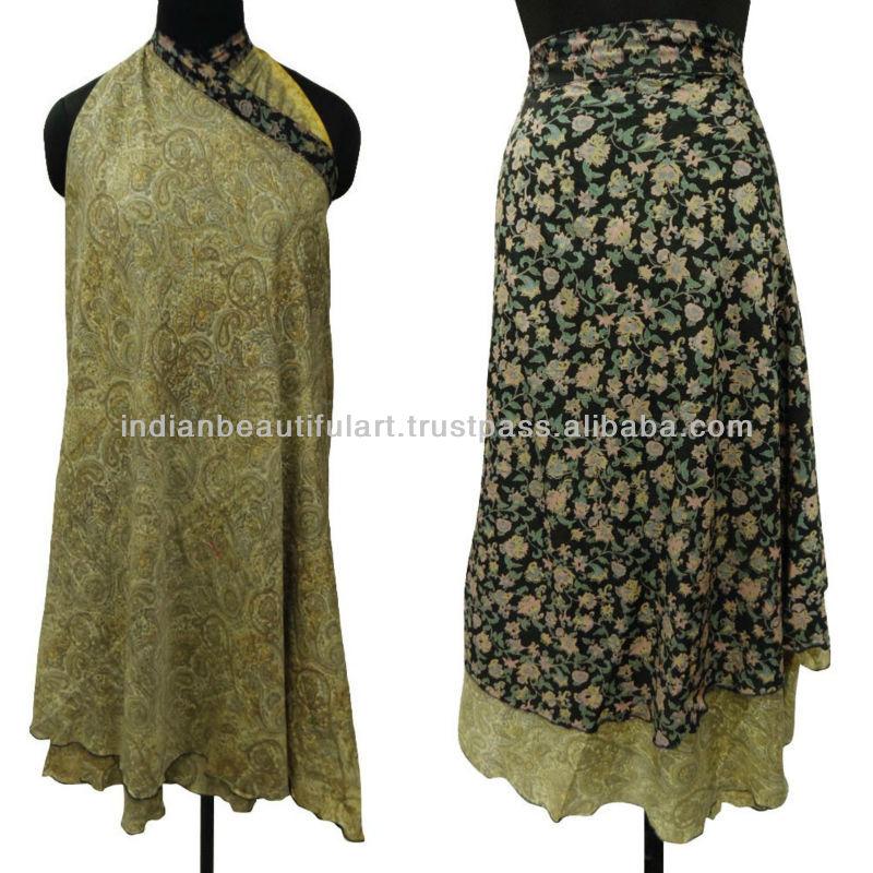 Black Floral Wrap Print Summer Sarong Women Wear Polyester Silk Sundress