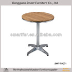 wood top metal base round dining table