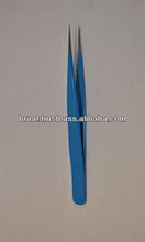2014 best anti static stainless steel coated eyelash extension tweezers beauty body hair electronic repairing tweezer