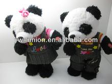Free samples plush electric girl panda moving toy