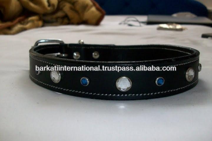 Rhinestones Rivet Pet Dog Collar leather