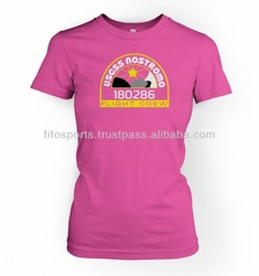 Ladies Pink T shirt,ladies custom print t shirt,OEM service soft 100% cotton printed t shirts